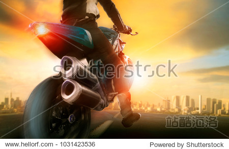 extreme action of man riding on big motorcycle