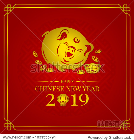 Happy chinese new year 2019 banner card with gold pig zodiac sign and china money coin and lantern on red background vector design