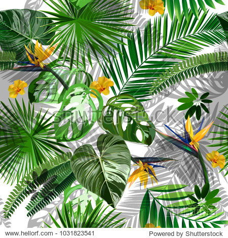 Trendy vector seamless beautiful artistic summer tropical pattern with exotic forest.  Bright and Colorful original stylish floral background print  bright forest flower on white