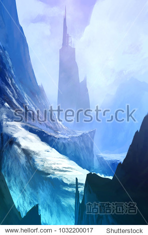 Winter landscape cliff road to the fantasy building on the mountain  coming home concept  digital art style  illustration colors painting