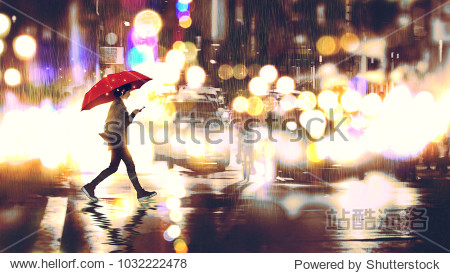 young woman listening to music on her phone and holding a red umbrella crossing a city street in the rainy night  digital art style  illustration painting