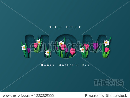 Happy Mother's day greeting card. Paper cut flowers tulips and narcissus  holiday background. Vector illustration.