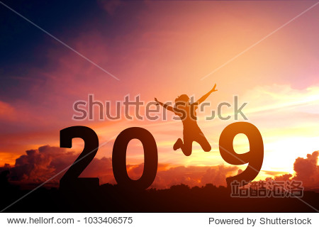 Newyear 2019 concept Silhouette young woman jumping to 2019 new year
