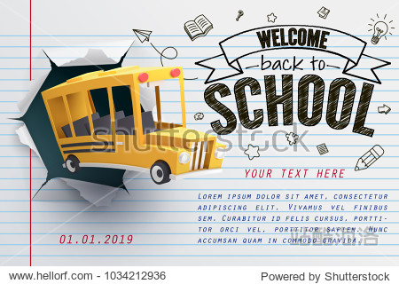 Paper art of school bus jumping out from notepad  back to school concept  vector art and illustration.