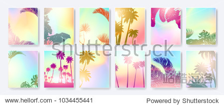 Colorful Summer banners  tropical backgrounds set with palms  leaves  sea  clouds  sky  beach colors. Beautiful Summer Time cards  posters  flyers  party invitations. Summertime template collection.