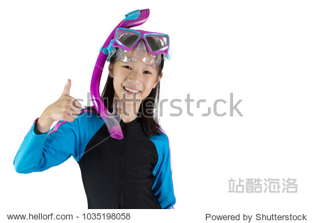 Asian girl wearing a diving mask isolated on white background; swim and sport concept