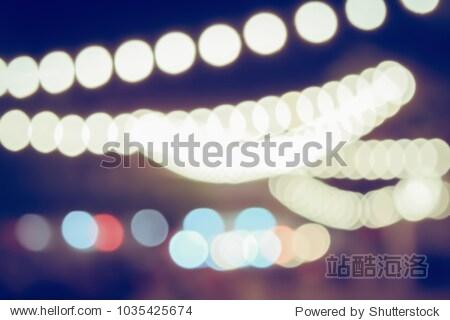 Vintage tone blurred defocused lights bokeh background