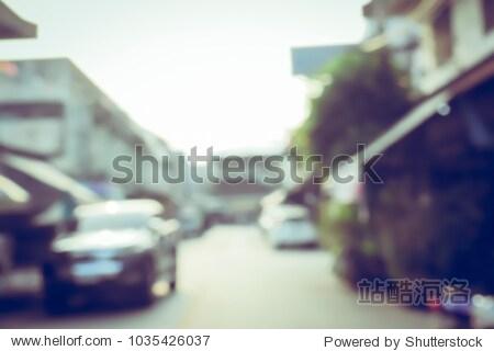 Vintage tone blurred defocused old city street thailand