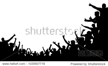 Crowd people  fan cheering. Illustration soccer background  vector silhouette. Mass mob at the stadium