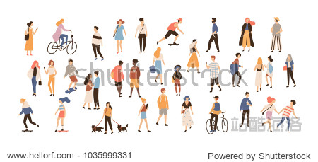 Crowd of people performing summer outdoor activities - walking dogs  riding bicycle  skateboarding. Group of male and female flat cartoon characters isolated on white background. Vector illustration.