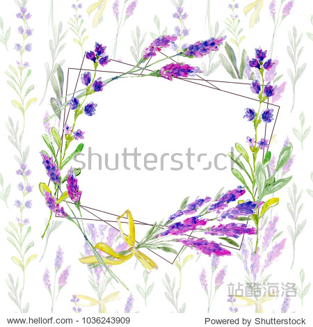 Wildflower lavender flower wreath in a watercolor style isolated. Full name of the plant: lavender. Aquarelle wild flower for background  texture  wrapper pattern  frame or border.