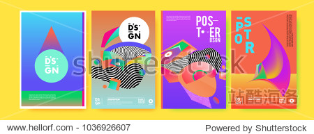 Abstract colorful collage poster design template. Cool geometric and fluid cover design. Blue  yellow  red  orange  pink and green background. Vector banner poster template in Eps10.