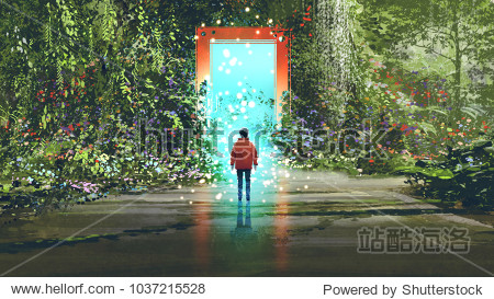 fantasy scenery showing the boy standing in front of the magic gate with glowing blue light in beautiful forest  digital art style  illustration painting