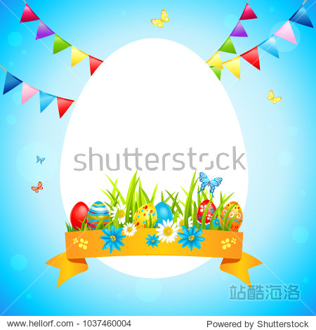Bright easter happy frame