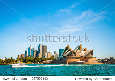 The city skyline of Sydney  Australia. Circular Quay and Opera House.