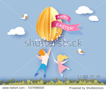 Happy Easter card with kids  flowers and egg air balloon on blue sky background. Vector illustration. Paper cut and craft style.