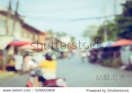 (Vintage tone) People on the Street market in the City Blurred defocused abstract Background