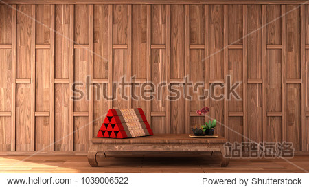 interior design in Thai style with wooden cap wall pattern and Thai triangle pillow on  wooden floor 3d illustration