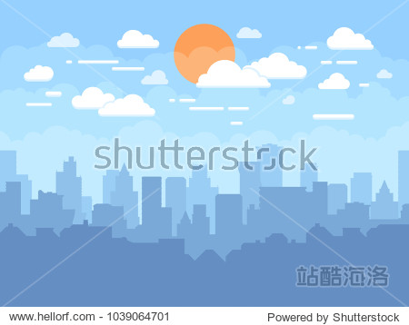 Flat cityscape with blue sky, white clouds and sun. Modern city skyline flat panoramic vector background. Urban city tower skyline illustration