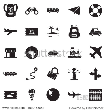 Solid black vector icon set - paper plane vector  air balloon  cruiser  train  car baggage  bus  africa  north america  ticket  office  binoculars  passport control  lighthouse  lifebuoy  route