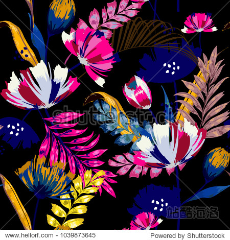 A dark summer night Trendy vector seamless beautiful artistic tropical pattern with exotic forest. Forest original stylish floral background print  colorful  rainbow colors on black