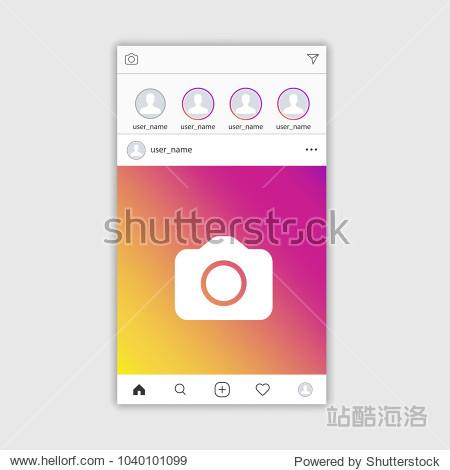 Social media Instagram photo frame template stories mobile interface  ui  web. Vector illustration. EPS 10