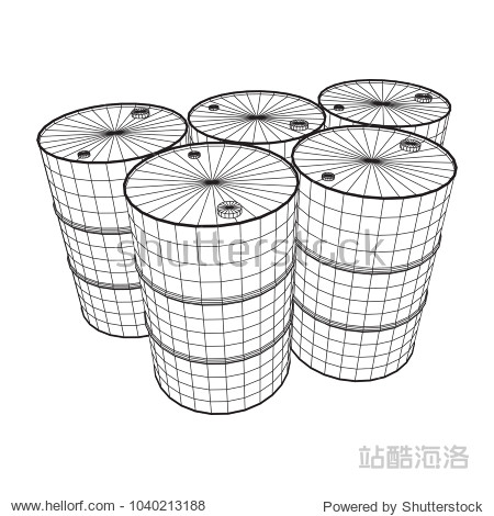 Metal barrel wireframe low poly mesh vector illustration.