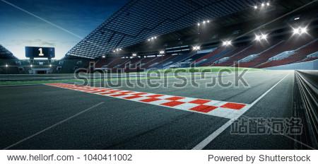 Evening scene asphalt international race track with starting or end line  digital imaging recomposition background.