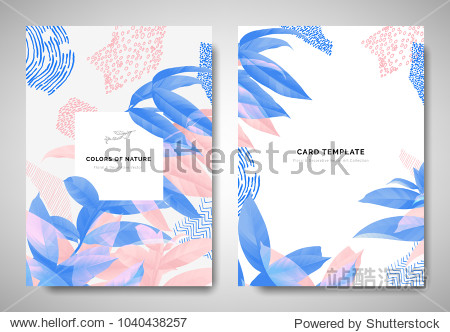 Greenery greeting/invitation card template design  leaves on branch with hand drawn doodle graphics on grey background  blue and pink tones