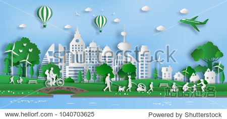 Paper art style of landscape with eco green city  people enjoy fresh air in the park  save the planet and energy concept  flat-style vector illustration.