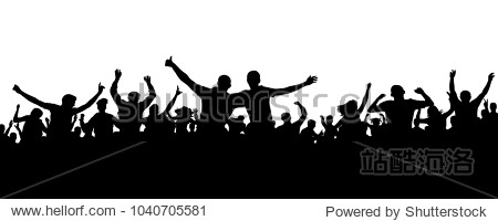 Crowd cheerful people silhouette. Joyful mob. Happy group friends of young people dancing at musical party  concert  disco. Sports fans  applause  cheering. Vector on white background