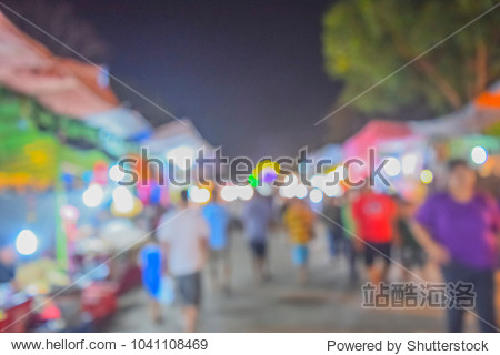 (Vintage tone) Festival Event night time with People in city Blurred defocused Bokeh abstract Background