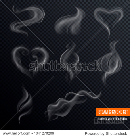 Steam smoke realistic set with hart and swirl shaped white on dark transparent background isolated vector illustration