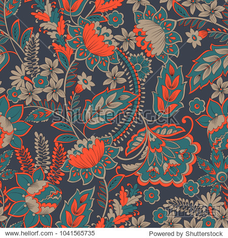 Floral vector illustration in damask style.Seamless vintage background