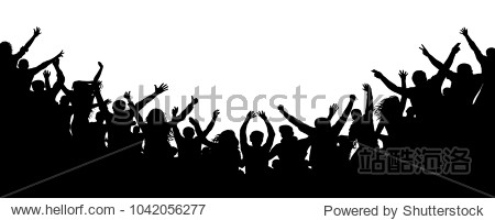Cheerful people crowd applauding  silhouette. Party  applause. Fans dance concert  disco