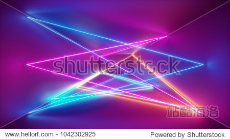 3d rendering  neon lights  laser show  glowing lines  abstract fluorescent background  optical illusion  room  corridor  night club interior