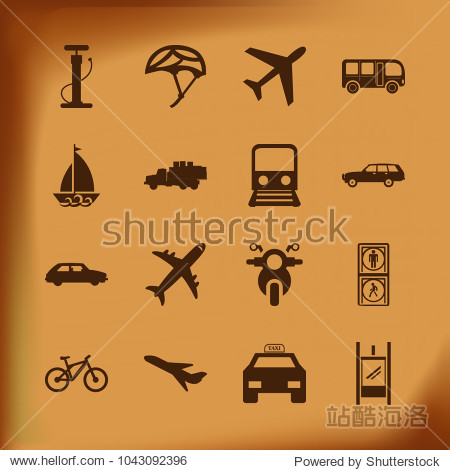 Transport Icon Set with taxi   truck   metro  train   bicycle   sailing  pedestrian and motorcycle