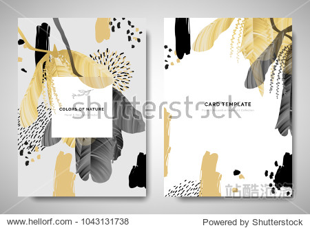 Greenery greeting/invitation card template design  leaves with flowers with hand drawn doodle graphics on grey background  black and golden tones