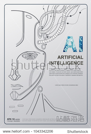 AI(Artificial Intelligence) concept poster. Robot face conect the brain with big data  Internet of things Disruption everything   neural network and deep learning. vector background