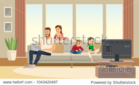 Family at home. Mother care about father  while children playing game console on tv. Fun cartoon characters. Vector illuctration of parents and children at living room modern interior.