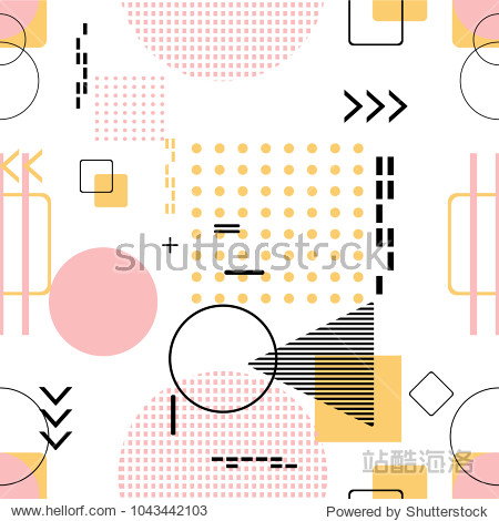 Trendy seamless  Memphis style with geometric pattern  vector illustration with geometric figures. Design backgrounds for invitation  brochure and promotion template.