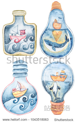 Watercolor set of fantasy illustration on white background. Sea collection.