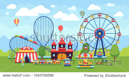 Cartoon amusement park with circus  carousels and roller coaster vector illustration. Circus park and carousel cartoon fun  amusement and carnival