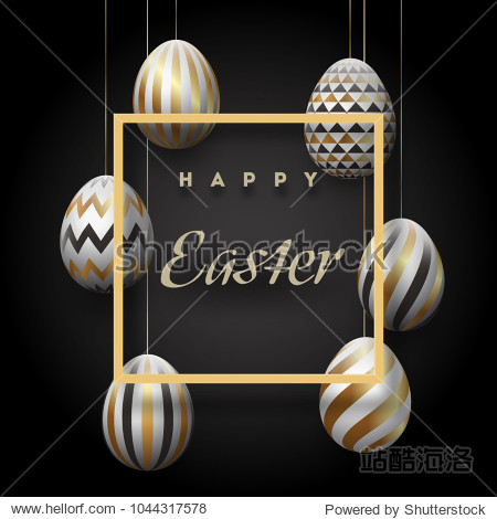 The composition of Easter eggs. Festive background On a black background, white-golden easter eggs.Template for posters and posters of sale banners ,. Vector Esp10.