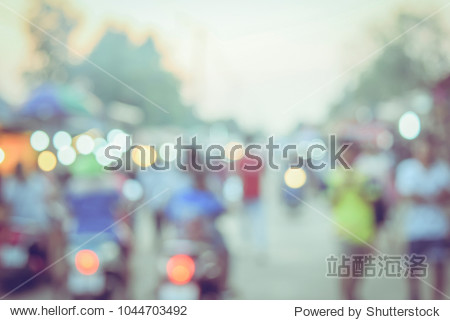 (Vintage tone) Festival Event day time with People in city Blurred defocused Bokeh abstract Background