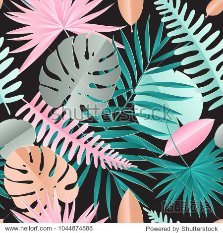 Paper palm  monstera leaves seamless pattern. Summer tropical leaf. Geometric backdrop. Origami exotic hawaiian jungle  summertime background in pastel colors