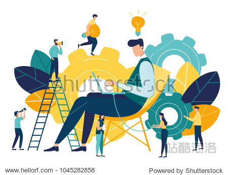 Vector creative illustration of business graphic  company is engaged in joint construction of column graphs  rise career to success  abstract head of person filled with ideas thoughts and analytics