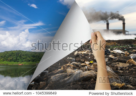 Change concept  Woman hand turning pollution page revealing nature landscape  changing reality  hope inspiration to environmental protection and environmental campaign.