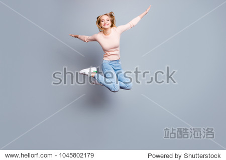 Joy fun enjoy funny crazy mad funky chill positive lifestyle person concept. Full-size view of excited cheerful delight rejoicing pretty employee jumping up isolated on gray background