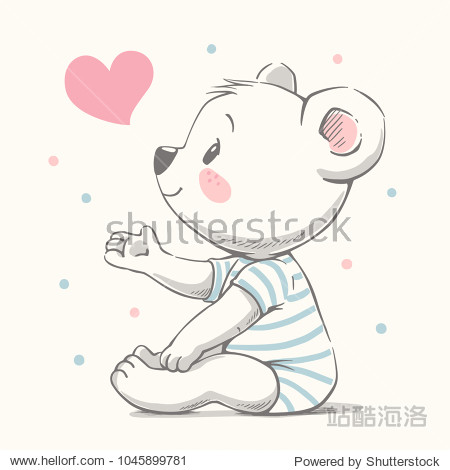 Cute bear cartoon hand drawn vector illustration. Can be used for t-shirt print  kids wear fashion design  baby shower invitation card.